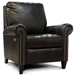 Leather High-Leg Reclining Chair with Nailheads