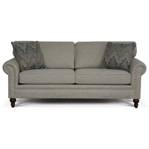 Traditional Sofa with Panel Rolled Arms