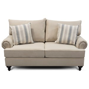 Traditional Loveseat with Rolled Arms