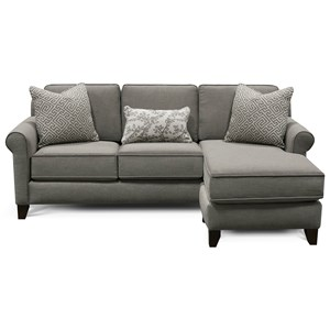 Transitional Sofa Chaise with Rolled Arms