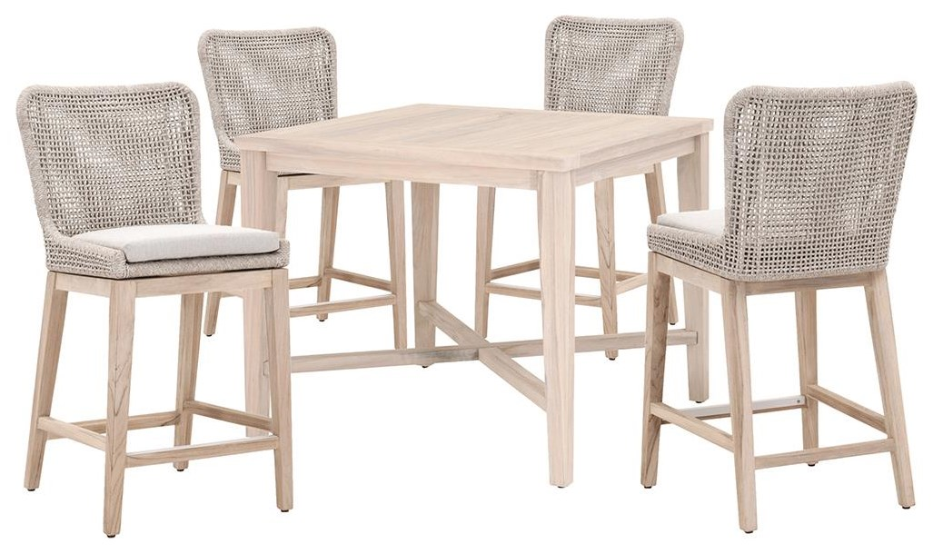 Loom Counter Table And 4 Stools by Sussex Casual at Johnny Janosik