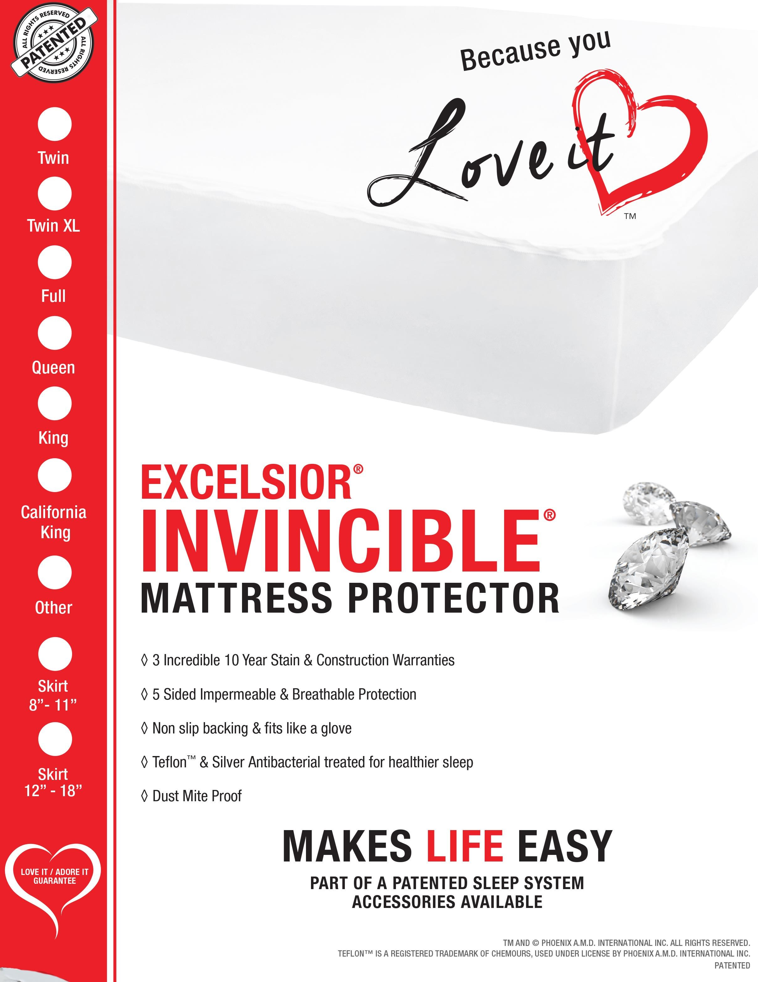 """Invincible 16"""" Full Mattress Protector by Excelsior at SlumberWorld"""