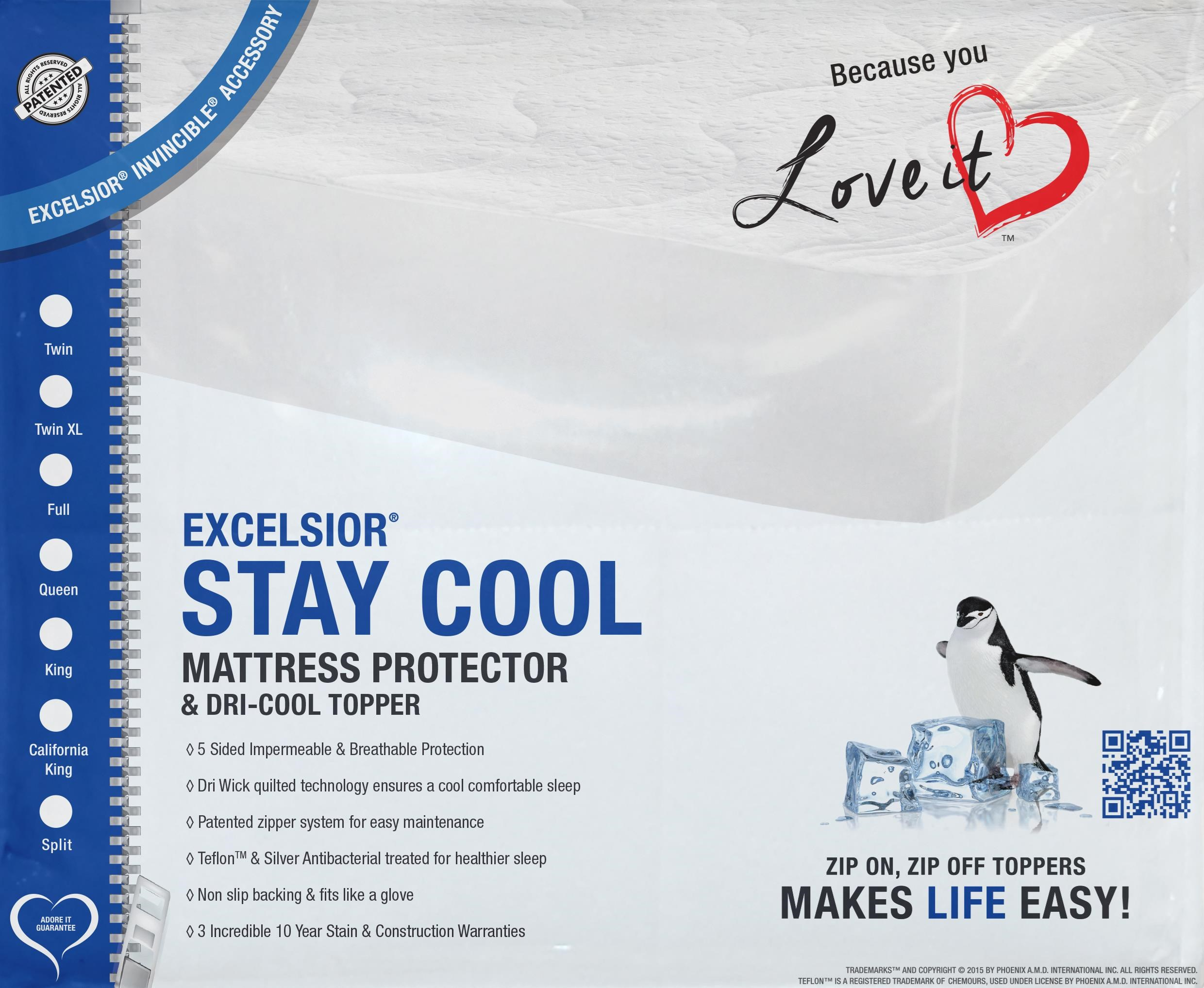 """Stay Cool II 16"""" Cal King Mattress Protector by Excelsior at SlumberWorld"""