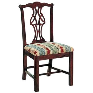 Pierced Splat Back Chair with Upholstered Cushion