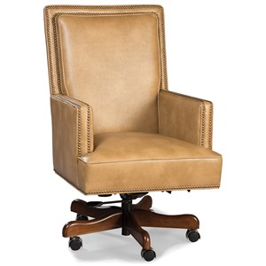 Traditional Rolling Executive Chair with Nailhead Trim