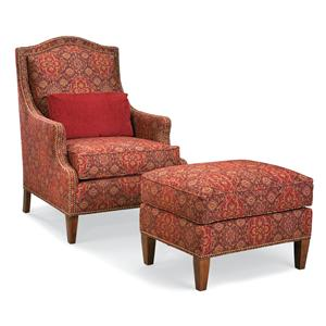 Chair and Ottoman with Nailhead Trim and Wood Legs