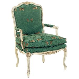 Intricately Carved Accent Chair with Box Edge Seat Cushion