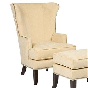 Contemporary Wing Chair with Exposed Wood Legs