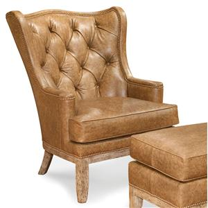 Tufted Wing Chair with Nailhead Trim