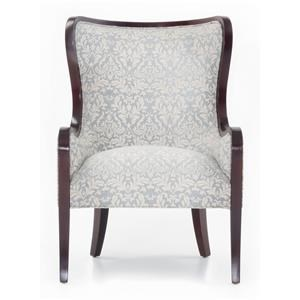 Upholstered Wing Chair with Exposed Wood