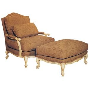 Victorian Lounge Chair & Ottoman Set