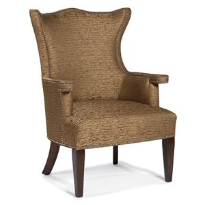 Stationary Lounge Chair with Flared Back Shape and Nailhead Trim