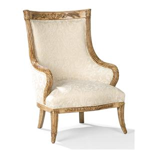 Traditional Exposed Wood Chair with Large Back