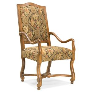 Traditional Exposed-Wood Arm Chair with Curved Arms and Legs