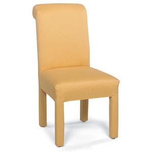 Stationary Armless Chair with Upholstered Legs
