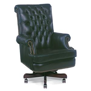Executive Swivel Chair with Button-Tufting and Rolled Arms