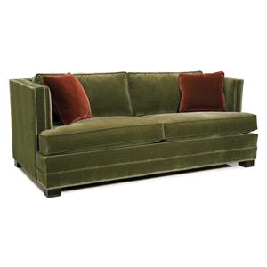Stationary Sofa with Track Arms and Nailhead Trim