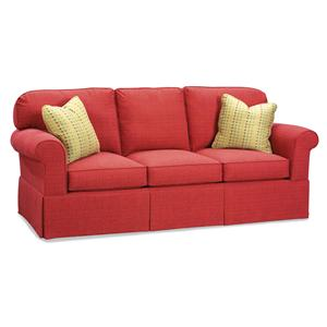 Stationary Sofa with Rounded Back Cushions