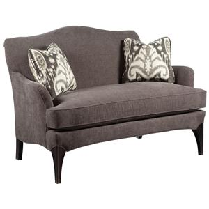 Contemporary Styled Settee Sofa with Exposed Wood Legs