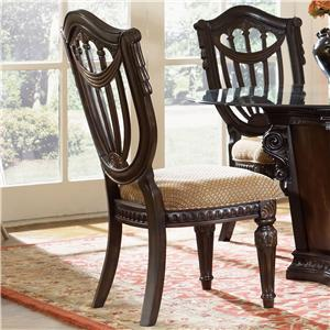 Wood Back Side Chair w/ Upholstered Seat