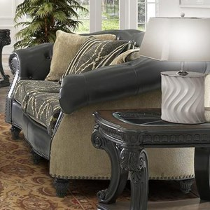 Traditional Stationary Sofa with Carved Wood Frame and Nailheads