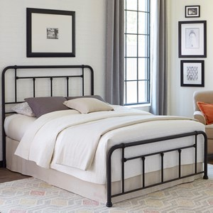Twin Baldwin Complete Bed with Metal Posts and Detailed Castings