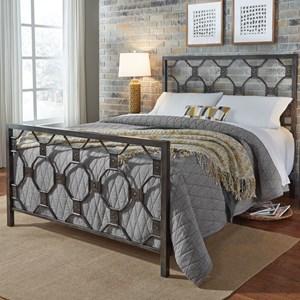 California King Baxter Metal Bed with Geometric Octagonal Design