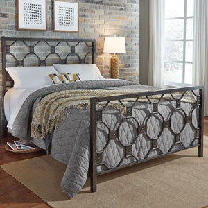 California King Baxter Complete Metal Bed with Geometric Octagonal Design