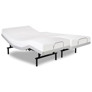 Vibrance Split King Adjustable Bed Base with Head and Foot Articulation with White Finish