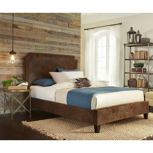 Canterbury California King Bed with Bonded Leather Upholstered Exterior and Nail head Trim