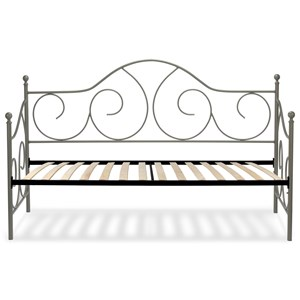 Twin Caroline Complete Metal Daybed with Sloping Back Panel and Euro Top Deck