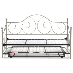 Twin Caroline Complete Metal Daybed with Link Spring and Trundle Bed Pop-Up Frame