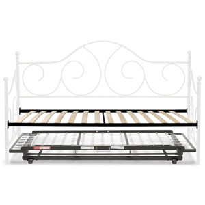Twin Caroline Complete Metal Daybed with Euro Top Deck and Trundle Bed Pop-Up Frame