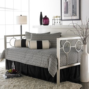 Twin Astoria Complete Metal Daybed with Circle Design Panels and Euro Top Deck