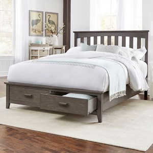 Queen Hampton Storage Bed with Solid Wood Frame and and Footboard Drawers