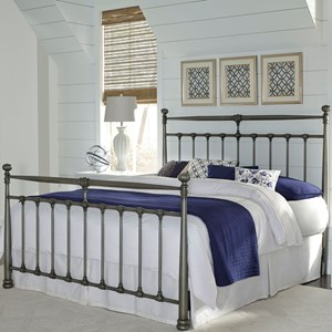 Full Kensington Metal Headboard & Footboard with Stately Posts and Detailed Castings