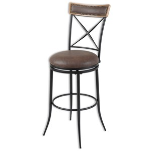 Transitional Boise Wood and Metal Barstool