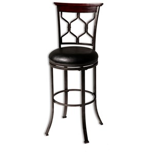 Contemporary Tallahassee Wood and Metal Barstool