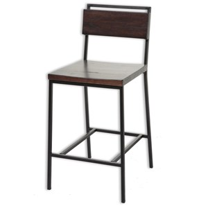 Transitional Olympia Wood and Metal Barstool