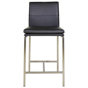 Phoenix Metal Counter Stool with Black Upholstered Seat and Stainless Steel Frame