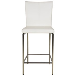 Cheyenne Metal Counter Stool with Glacier Finished Upholstered Seat and Stainless Steel Frame