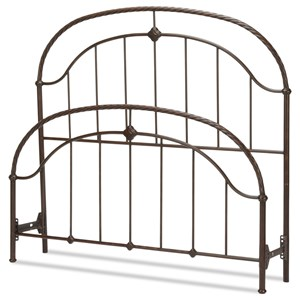 Queen Cascade Headboard and Footboard with Metal Panels and Twisted-Rope Rail