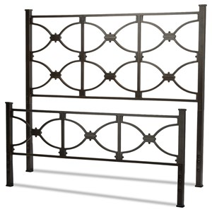 Full Marlo Headboard and Footboard with Metal Panels and Squared Finial Posts