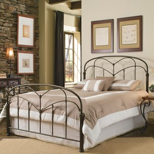 California King Pomona Headboard and Footboard with Arched Metal Grills and Detailed Posts