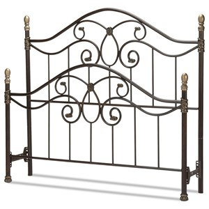Full Dynasty Bed with Arched Metal Duo Panels and Scalloped Finial Posts