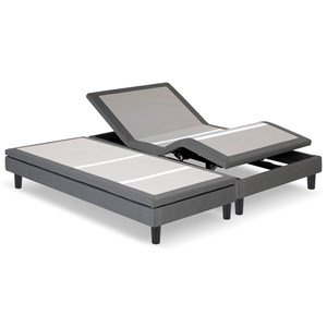 Split California King S-Cape 2.0 Adjustable Furniture-Style Bed Base with Wooden Legs and Wallhugger Technology