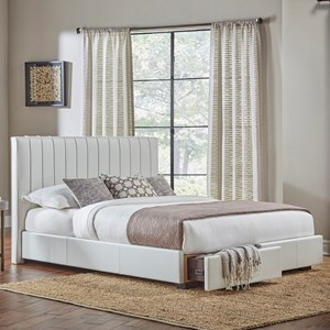 King Delaney Storage Bed with Faux-Leather Upholstered Frame and Footboard Drawers