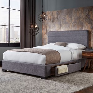 Queen Oliver Storage Bed with Upholstered Frame and Single Side Drawer