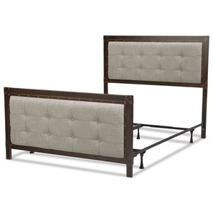 California King Metal and Fabric Gotham Bed with Nailhead Trim