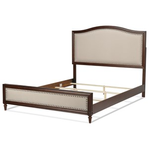 California King Grandover Transitional Wood and Fabric Ornamental Bed